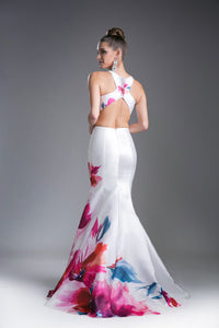 Two Piece Floral Print Satin Mermaid Gown Style #CA71389