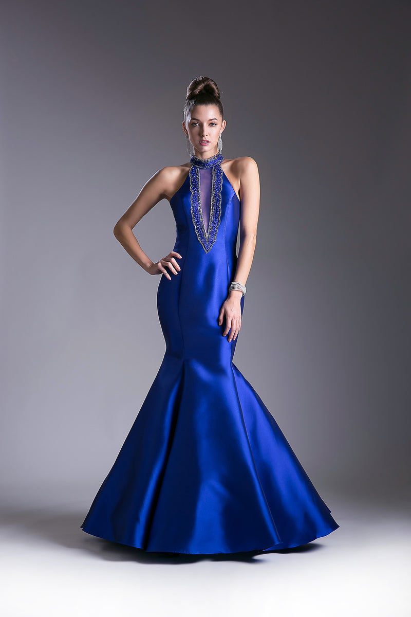 High Collar Satin Mermaid Dress Style #CA13119