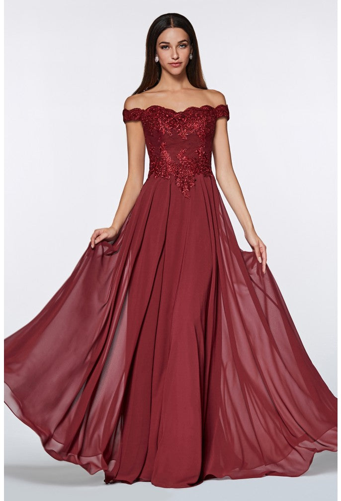 Off Shoulder Embroidered Prom Dress With Leg Slit Style #ci7258 | 2019 Prom New Arrivals