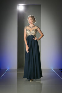 LONG CHIFFON DRESS WITH HIGH NECKLINE STYLE #CND72 - NORMA REED - 1