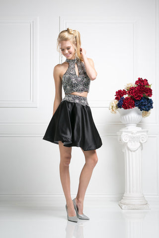 SHORT TWO PIECE PROM DRESS WITH CRYSTAL EMBROIDERY STYLE #CND82072