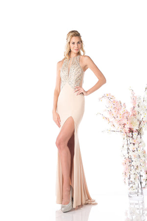 LONG SEXY SLIT DRESS WITH CRYSTAL STYLE #CND82409 - NORMA REED