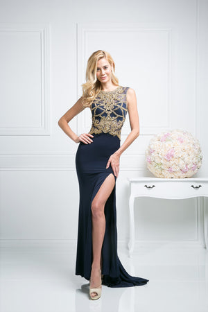 LONG SLIT DRESS WITH LACE & CRYSTAL EMBROIDERY STYLE # - NORMA REED - 1