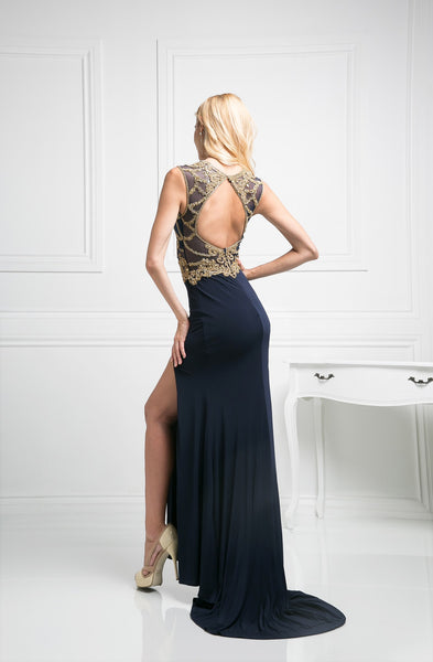 LONG SLIT DRESS WITH LACE & CRYSTAL EMBROIDERY STYLE #