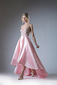 Blush Asymmetrical Austrian Crystal & Satin Gown Style #CA84406