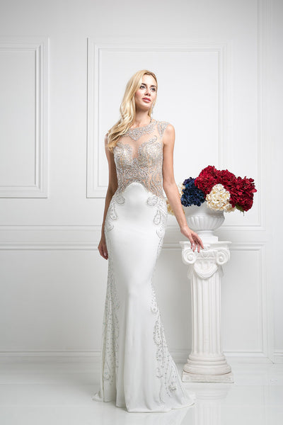 LONG MERMAID PROM DRESS WITH HEAVY CRYSTAL ON SHEER & CHIFFON STYLE #CND8700