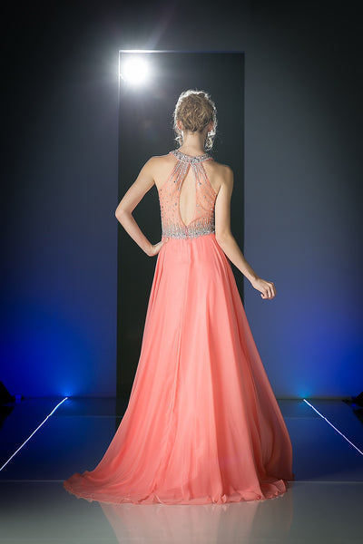 LONG CHIFFON GOWN WITH CRYSTAL EMBROIDERY ON SHEER STYLE #CND8743