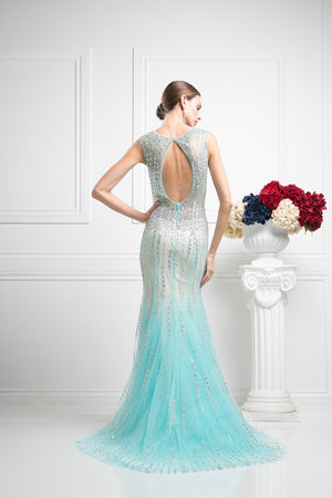 LONG TWO TONE MERMAID DRESS WITH HEAVY CRYSTAL WORK STYLE #CND8753 - NORMA REED - 2