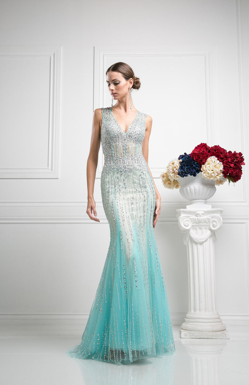 LONG TWO TONE MERMAID DRESS WITH HEAVY CRYSTAL WORK STYLE #CND8753 - NORMA REED - 1