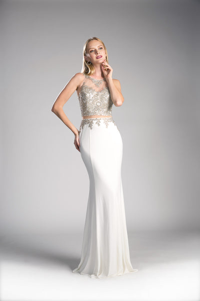 Long Chiffon Mermaid Dress With Elegant Embroidery & Sheer Neckline | Norma Reed