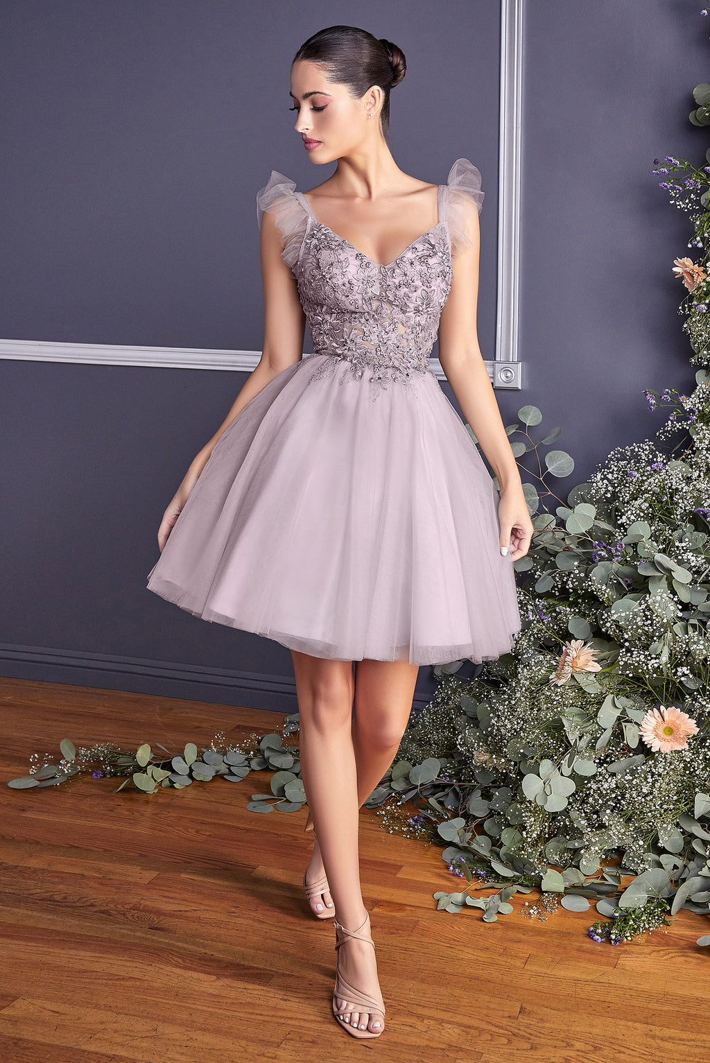 Cute Short Ball Gown with Poofy Strap Sleeves and Embroidered Bodice #CD9238