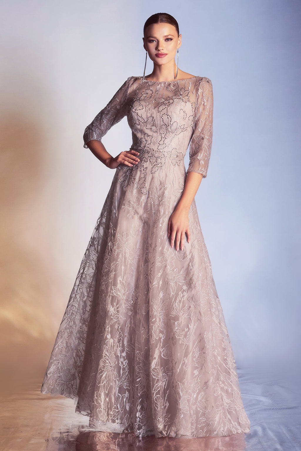 Gorgeous Long Sleeve Gown with Illusion Floral Design #CD9241
