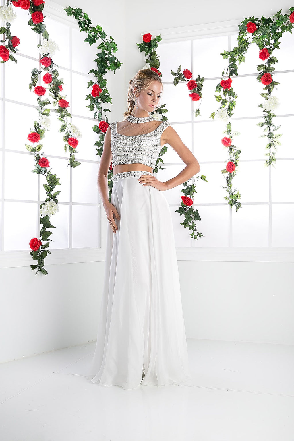 LONG CHIFFON TWO PIECE DRESS WITH AUSTRIAN CRYSTAL STYLE #961 - NORMA REED - 1