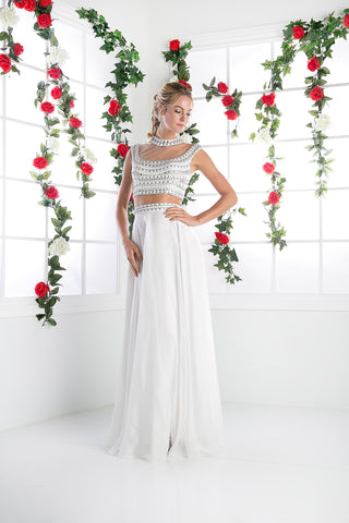 LONG CHIFFON TWO PIECE DRESS WITH AUSTRIAN CRYSTAL STYLE #961