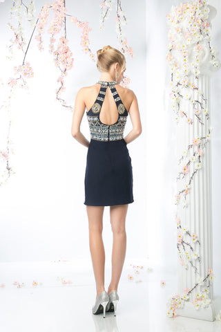 SHORT FITTED DRESS WITH AUSTRIAN CRYSTAL STYLE #CND973