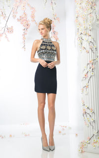 SHORT FITTED DRESS WITH AUSTRIAN CRYSTAL STYLE #CND973 - NORMA REED - 1
