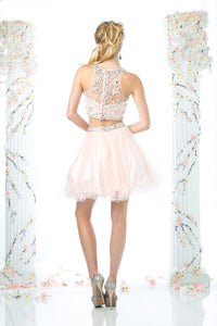 SHORT TWO PIECE SEXY DRESS WITH CRYSTAL STYLE #CND975 - NORMA REED - 5