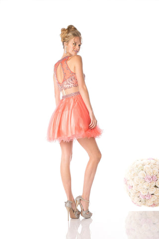 SHORT TWO PIECE DRESS WITH CRYSTAL & SHEER STYLE #CND976