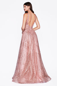 Crystal & Sequin Dusty Rose Ball Gown Style #LAAM258 | Prom 2020