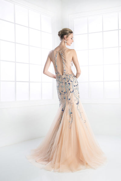 LONG MERMAID CHIFFON DRESS WITH AUSTRIAN CRYSTAL PEACOCK PATTERN STYLE #CNDC202