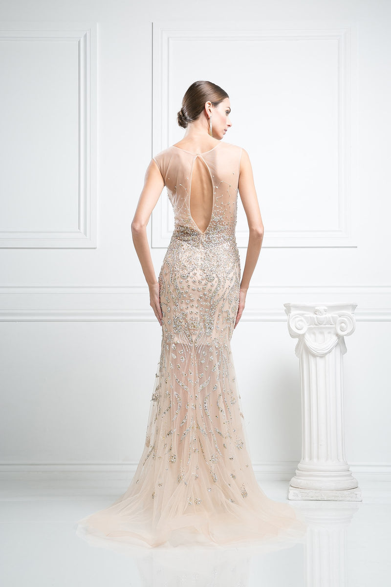 LONG MERMAID DRESS WITH HEAVY CRYSTAL EMBROIDERY STYLE #CNDC227 - NORMA REED - 2