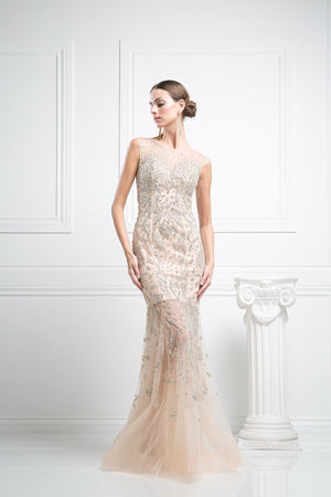 LONG MERMAID DRESS WITH HEAVY CRYSTAL EMBROIDERY STYLE #CNDC227 - NORMA REED - 1