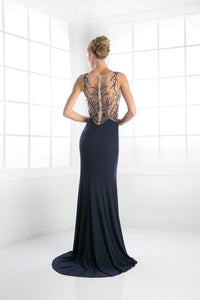 LONG SEXY SLIT DRESS WITH AUSTRIAN CRYSTAL ON SHEER STYLE #CNDC235 - NORMA REED - 2
