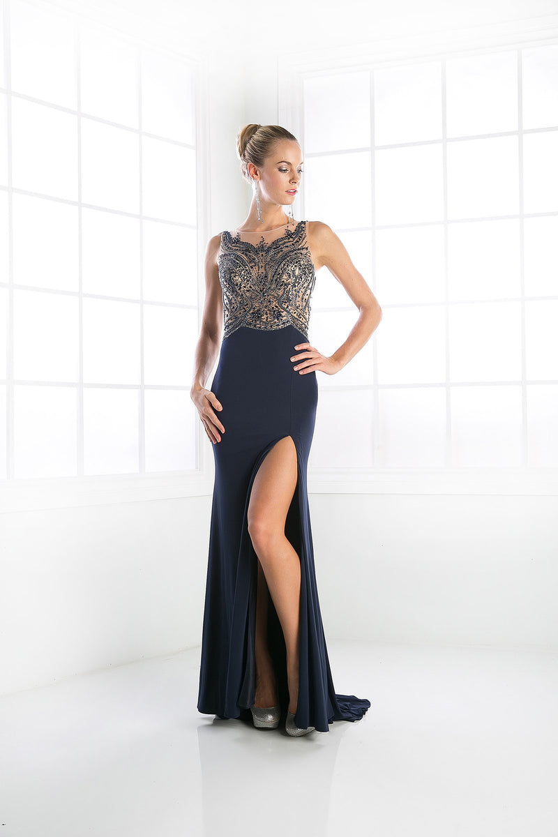 LONG SEXY SLIT DRESS WITH AUSTRIAN CRYSTAL ON SHEER STYLE #CNDC235 - NORMA REED - 1