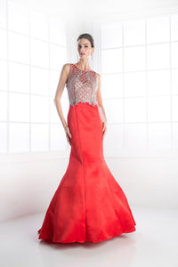 LONG MERMAID DRESS WITH AUSTRIAN CRYSTAL STYLE #CNDC238 - NORMA REED - 1