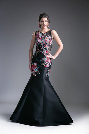 Long Satin Floral Print Dress Style #CAC80089A