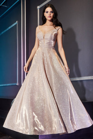 Shimmering Deep V-Neckline Gown with Fabric Belt and Long Skirt #CDCB0029