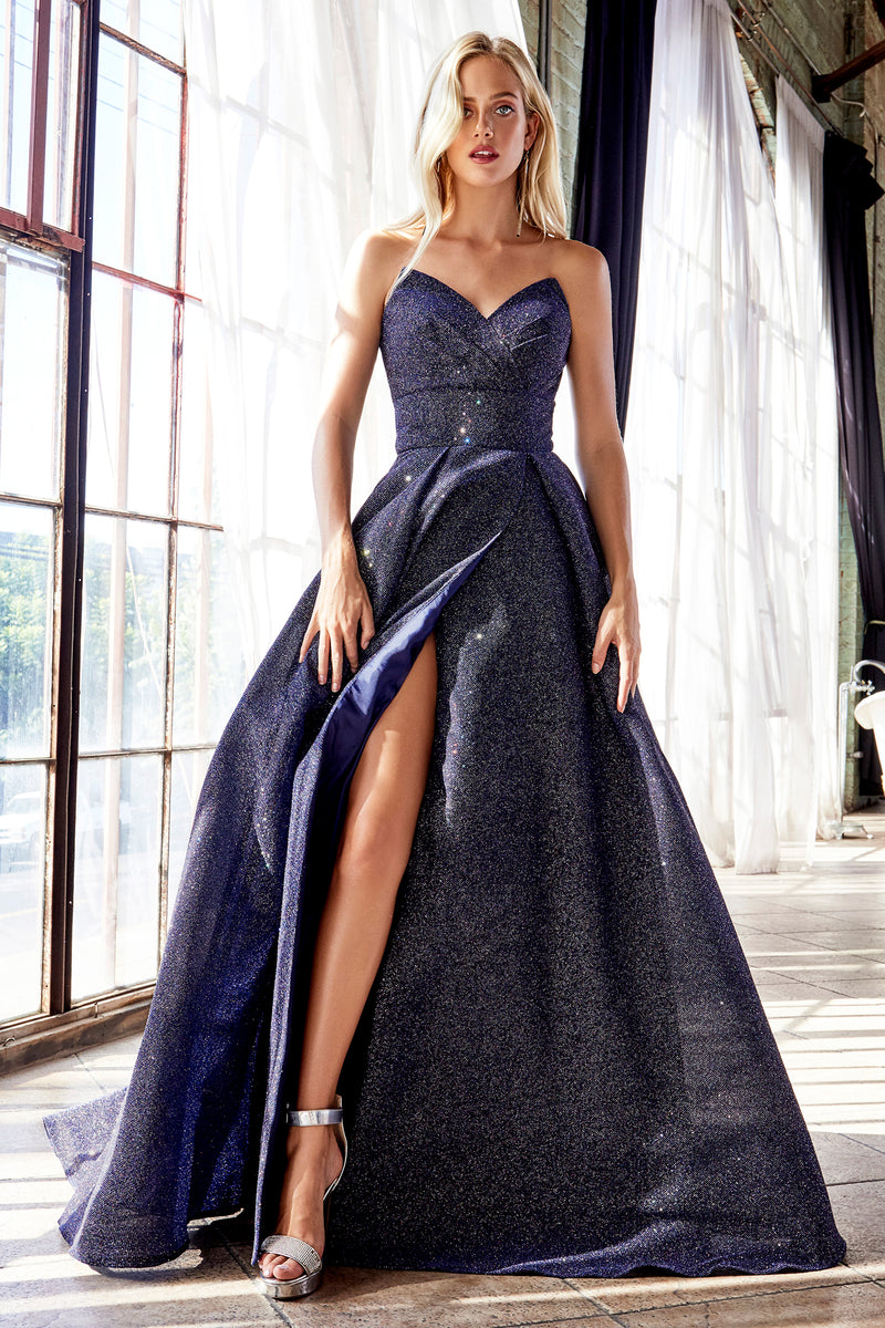 Shimmering Slit Leg Ball Gown Style #LACB045 | Prom 2020