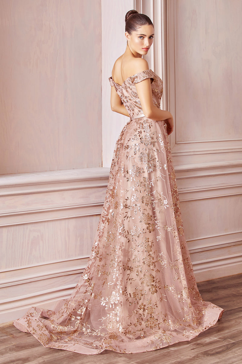 Showstopping Off Shoulder Gown with Glitter Detailing and Layered Skirt #CDCB069