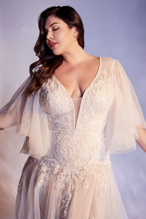 Elegant Plus-Size Plunge Neckline Wedding Gown with Wing Sleeves and Leg Slit #CDCB070C