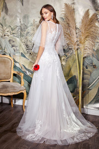 Elegant Plunge Neckline Wedding Gown with Wing Sleeves and Leg Slit #CDCB070