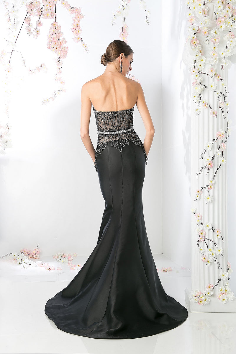 LONG MERMAID GOWN WITH AUSTRIAN CRYSTAL STYLE #CNDCB762 - NORMA REED - 2