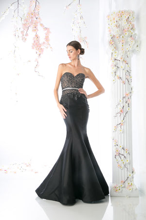 LONG MERMAID GOWN WITH AUSTRIAN CRYSTAL STYLE #CNDCB762 - NORMA REED - 1