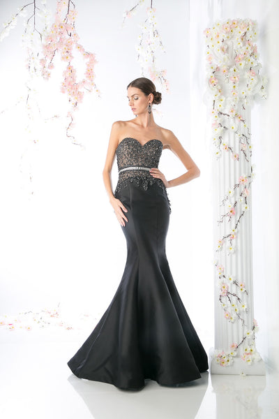 LONG MERMAID GOWN WITH AUSTRIAN CRYSTAL STYLE #CNDCB762