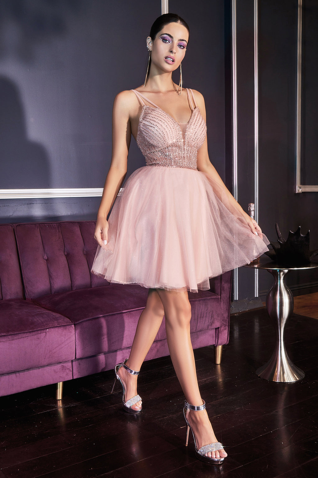 Cute Short Prom Gown with Sheer Glitter Bodice and Layered Skirt #CDCD0148