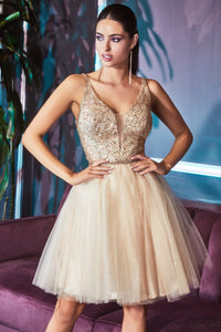 Cute Short Dress with Deep Neckline and Textured Bodice #CDCD0149