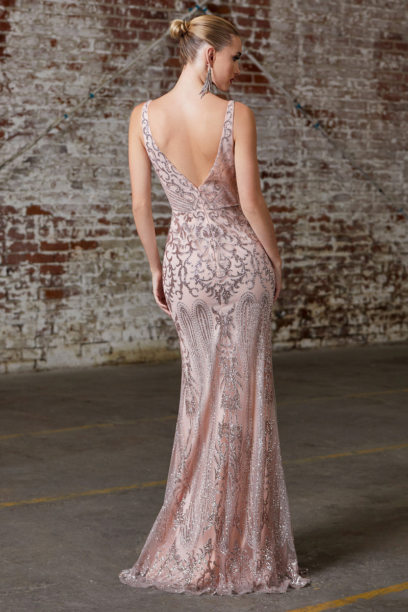 Lace & Sequin Embroidered Mermaid Gown Style #LACD0161 | Prom 2020