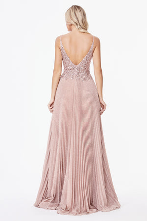 Dusty Rose Shimmering Pleated Dress #LACD0163 | Prom 2020