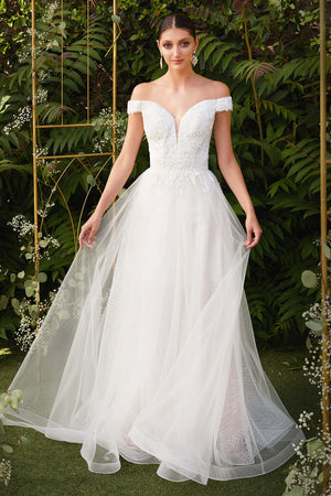Elegant Off Shoulder Wedding Gown with Embroidered Bodice and Layered Skirt #CDCD0170