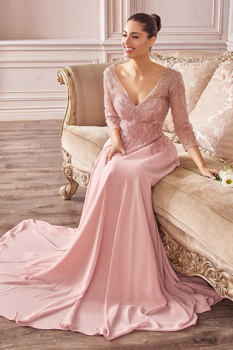 Gorgeous Long Sleeve Gown with Glitter Design on Bodice #CDCD0171