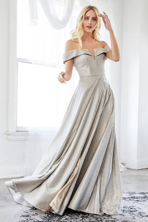 Shimmering Off Shoulder Dress Style #LACD162 | Prom 2020