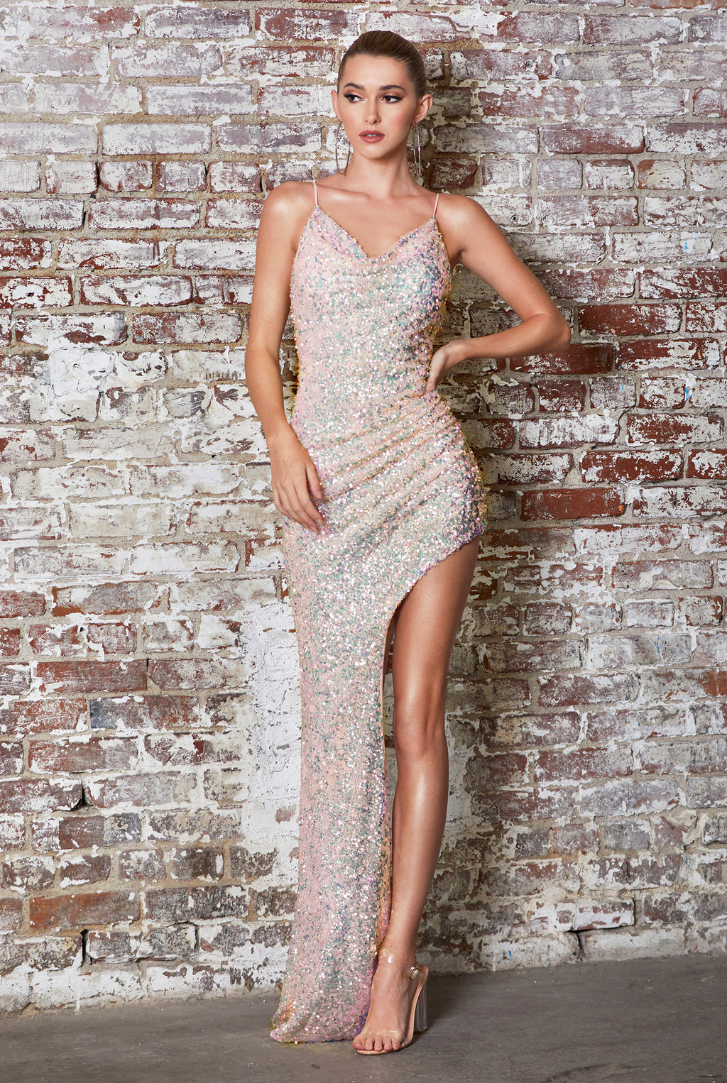 Shimmering Opal Blush Long Dress With Leg Slit Style #LACD181 | Prom 2020