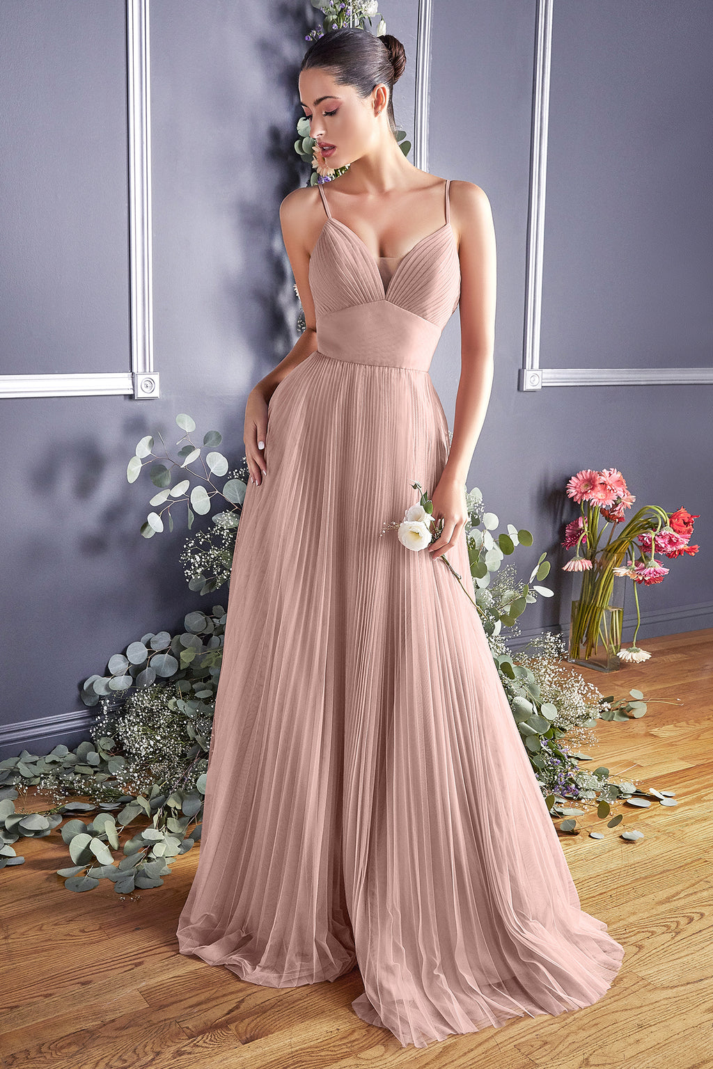 Elegant Long Gown with Deep Neckline and Pleated Long Skirt (SIZES 11-17) #CDCD184