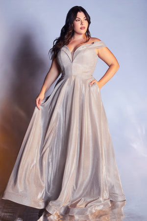 Elegant Plus Size Off Shoulder Gown with Deep Sweetheart Neckline #CDCD210C