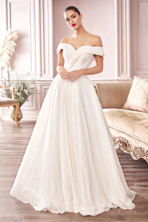 Elegant Shimmering Off Shoulder Ball Gown with Leg Slit #CDCD214W