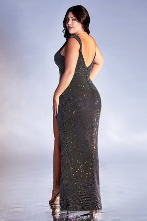 Jawdropping Plus Size Jewel Neckline Gown with Deep Leg Slit #CDCD216C